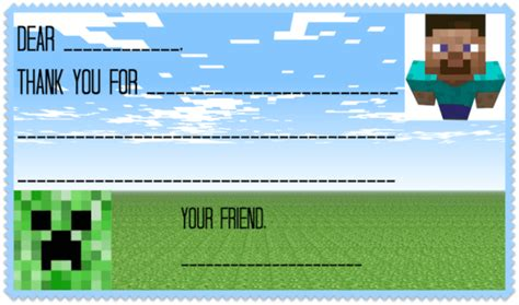 minecraft cards printable printable minecraft thank you notes invitations ideas