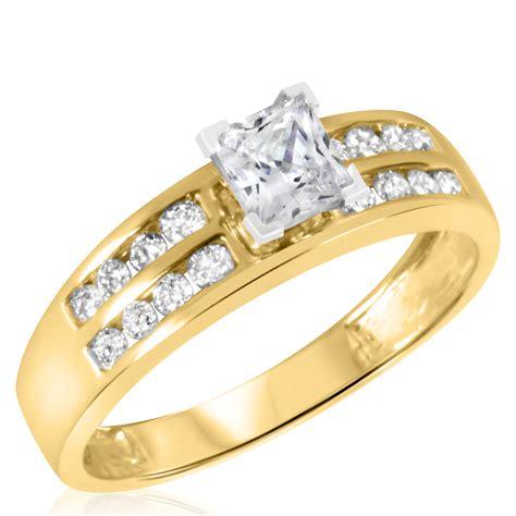 1 ct t w s bridal wedding ring set 14k