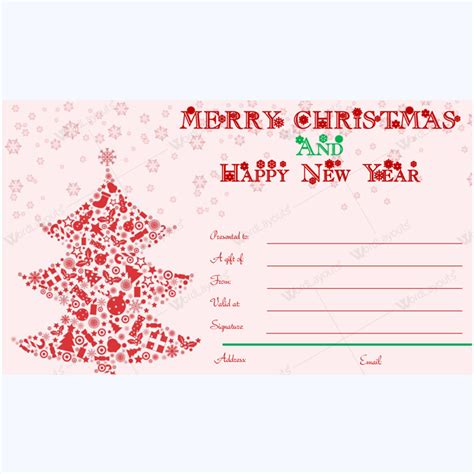Merry Christmas And Happy New Year Card Template Word Layouts Merry Gift Certificate Templates