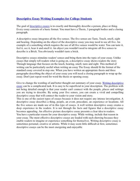 Writing A Descriptive Essay by Descriptive Essay Writing Exles For College Students