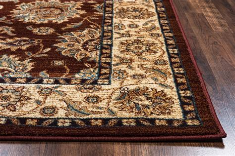 10 X 10 Area Rug Bellevue Traditional Floral Area Rug In Khaki Burgundy 7 10 Quot X 10 10 Quot