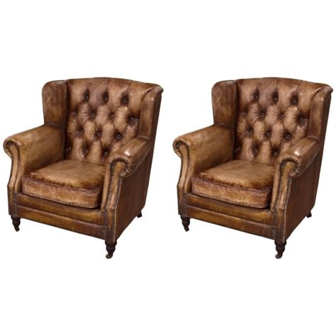 Leather Club Chairs For Sale Pair Of English Library Distressed Leather Club Chair For