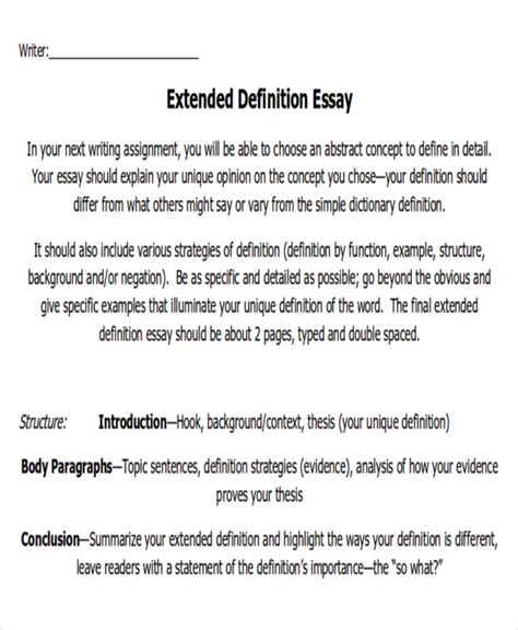 Extended Definition Essay Exles by Write Extended Definition Essay Exles Of Extended Definition Essays Essay Paper
