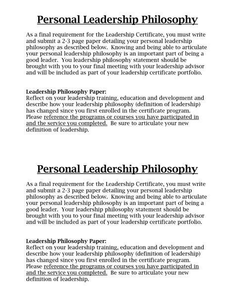 leadership philosophy template leadership philosophy quotes quotesgram