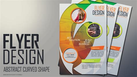 flyer design how to photoshop tutorial abstract curved shape flyer design