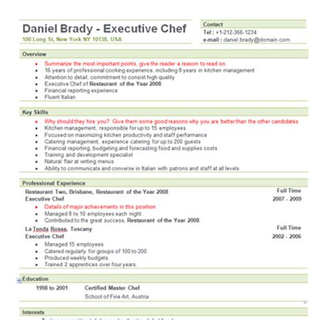 sample chef resume elegant great resume examples for customer