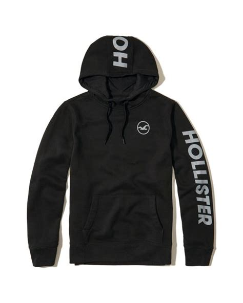 Hollister Print Logo Hoodie hollister logo graphic hoodie in black for lyst
