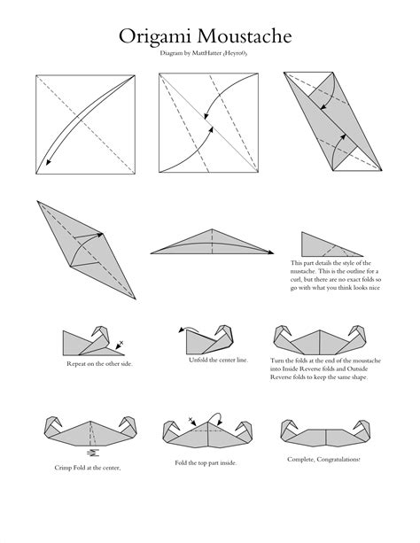How To Make Paper Mustaches - paper works a diagram for an origami moustache happy