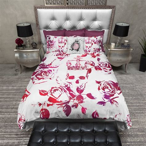 red and purple crown rose skull duvet bedding sets ink