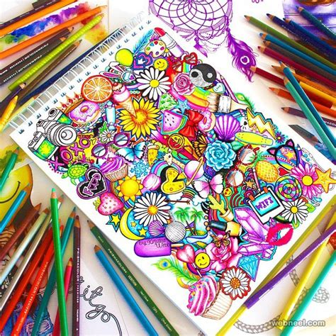 the doodle book draw colour create 25 beautiful color pencil drawings and creative works
