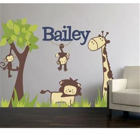 jungle themed wall stickers monogrammed fabric jungle theme wall decal