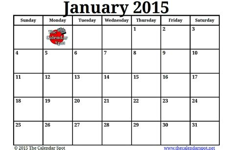 january calendar template 2015 image gallery january 2015 calendar printable pdf