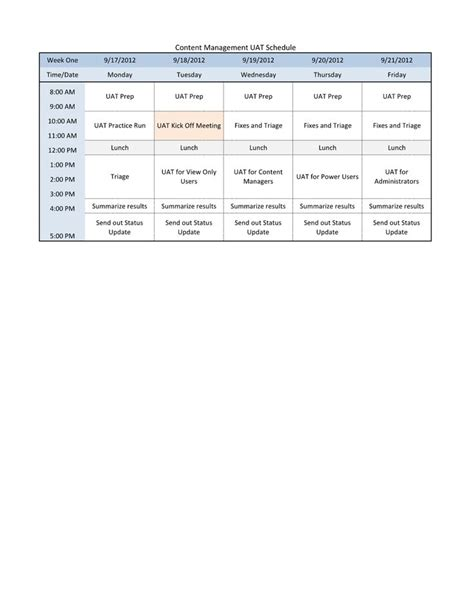 uat schedule template sle user acceptance testing uat schedule use the