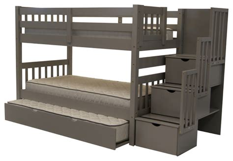 Bunk Beds With Trundle And Stairs by Bedz King Bunk Beds Stairway Gray Trundle