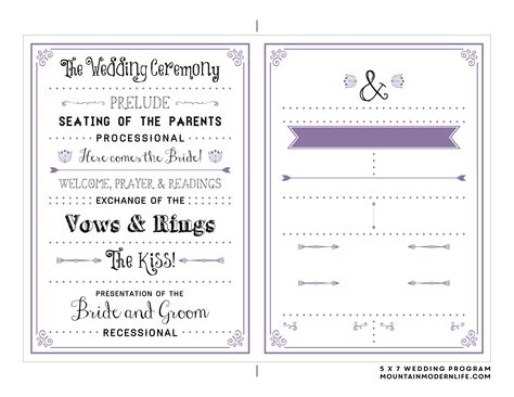 Free Printable Wedding Program Mountainmodernlife Com One Page Wedding Program Template 2