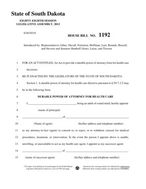 sle of durable power of attorney bill of sale form south dakota durable power of attorney for health care form templates