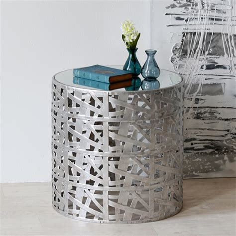 silver metal side table metal side table in silver with mirror top