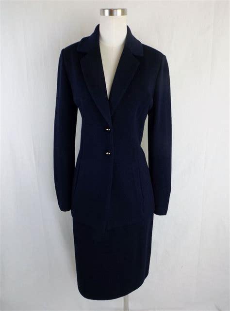 st knits ebay st basics skirt suit navy 4 santana knit usa blazer w