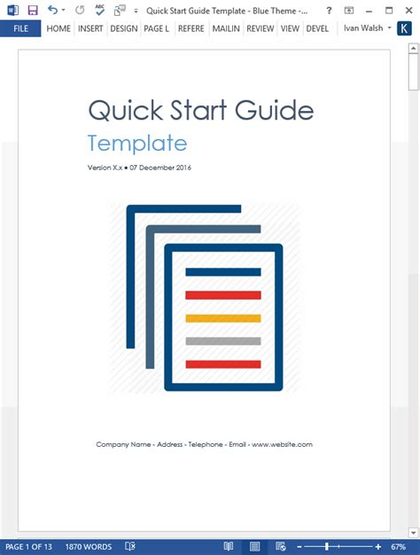 quick start guide template ms word templates forms