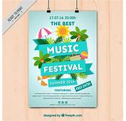 Music Festival Poster With Summer Elements Vector  Free