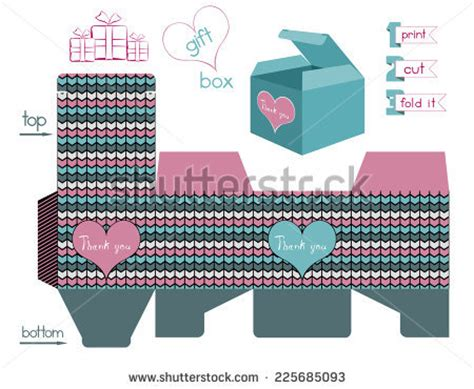 pattern for fold up box printable gift box chevron pattern template stock vector