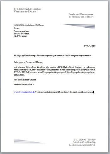 Vorlage Kündigung Der Lebensversicherung k 252 ndigungsschreiben versicherung vorlage muster