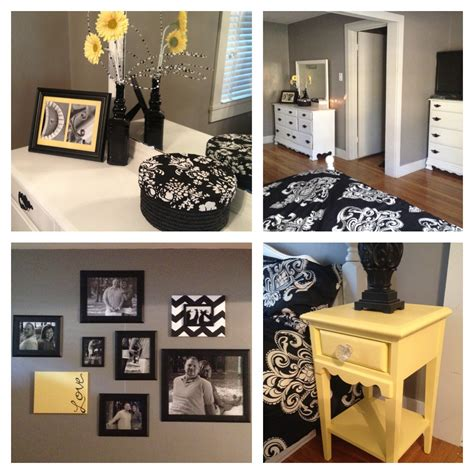 black and yellow bedroom decor black and white bedroom with a pop of color ideas wooden