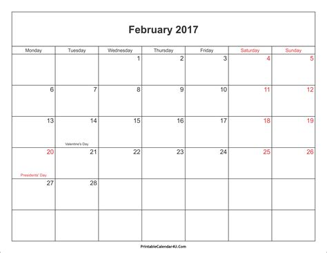 printable calendar february 2017 february 2017 calendar printable with holidays pdf and jpg