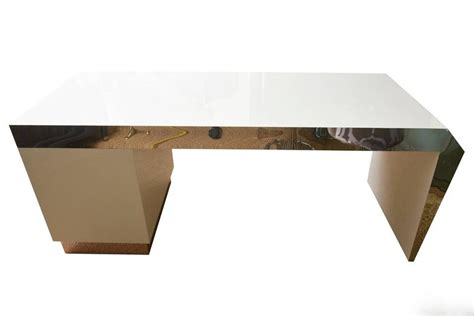 Angled Desk L by Monumental Stainless Steel And White Lacquered Wood Angled Desk For Sale At 1stdibs