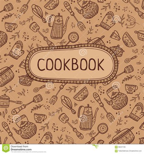 cookbook covers template cookbook cover with kitchen items stock vector image