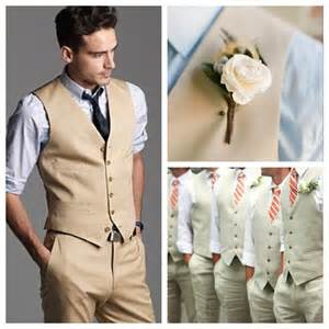 Attire option sand color vest slim no pleated matching pants