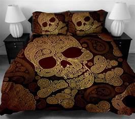 skull wing pattern duvet quilt cover set pillowcase