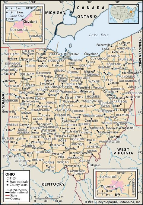 show me a map of ohio state and county maps of ohio