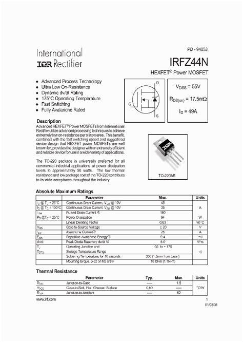 transistor irfz44n pbf irfz44n 146657 pdf datasheet ic on line