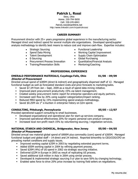procurement format cv templates procurement resume sle resume ideas