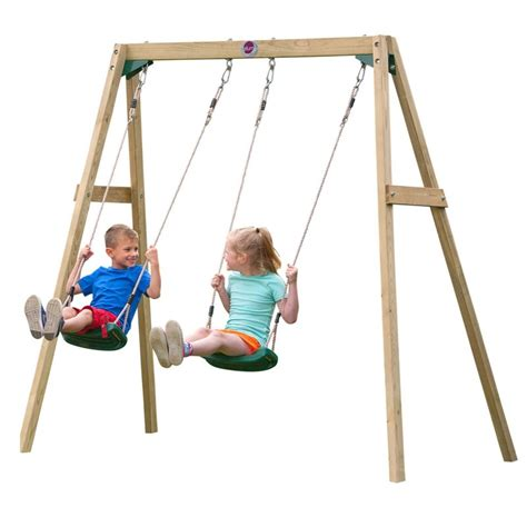 Plum Kid's Wooden Playground Double Swing Set   Buy Swings