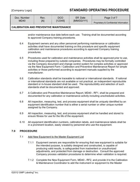 maintenance procedure template calibration preventive maintenance sop template md40