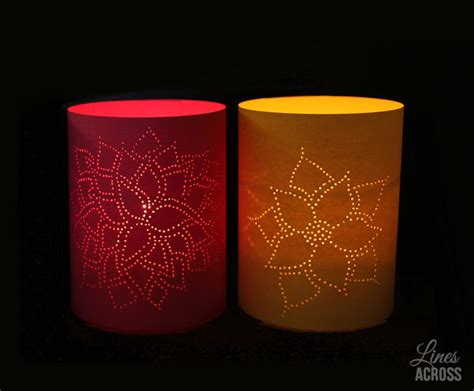Paper Lanterns For Candles - lines across thumb tack paper lanterns