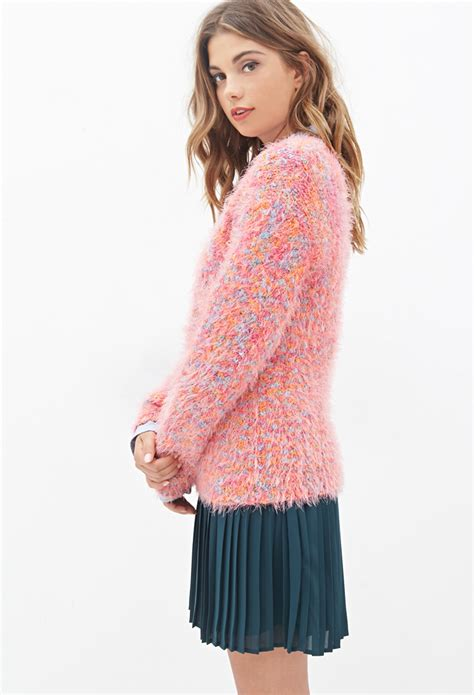 Two Color Sweater Pink forever 21 multi colored fuzzy sweater in pink lyst