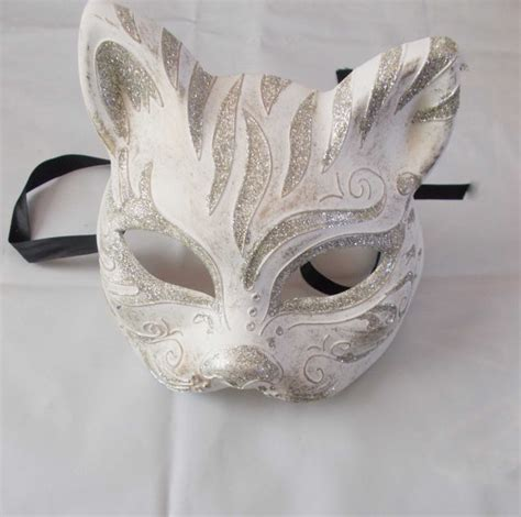 Handmade Mask - gatto mask masquerade handmade of plaster and putty cat mask