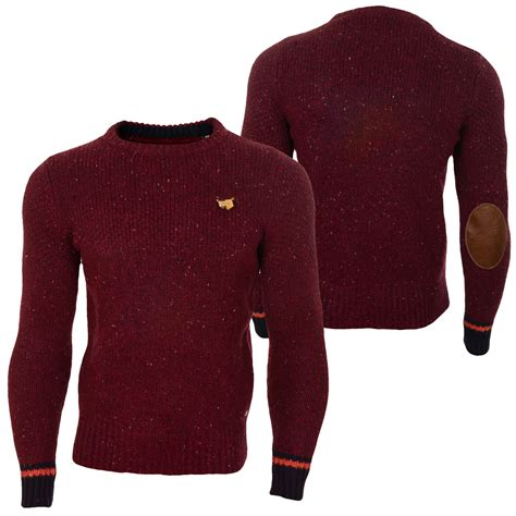 Fox Sweater Armado Kapuzen Pullover Burgundy Ori scotch and soda pullover scotch soda cable knitted crew neck pull knit half chunky