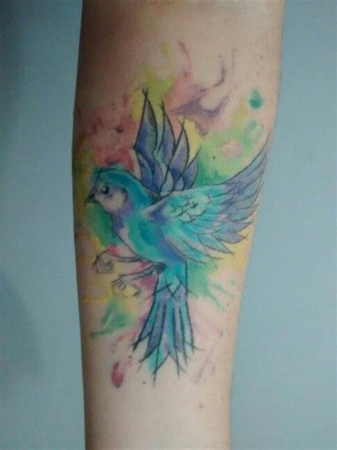 bird watercolor tattoo candy color aquarelle tattoo