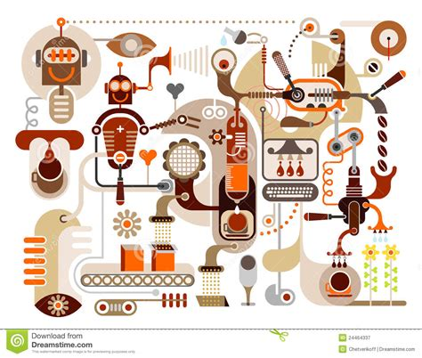 Room Diagram Maker coffee factory abstract vector illustration stock vector