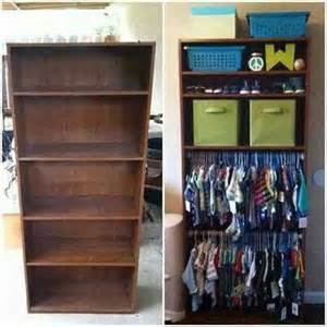turn a bookshelf with adjustable shelves into an open wardrobe for little people that can t
