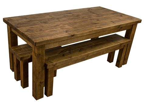 rustic dining table and bench tortuga rustic 6x3 wooden farmhouse dining table with 2