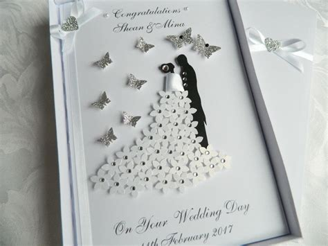 Handmade Wedding Cards Sle - handmade personalised card wedding day engagement