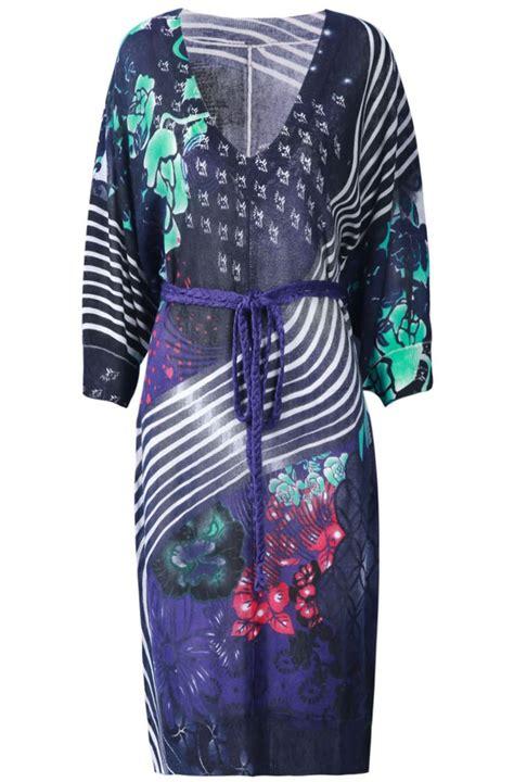 purple v neck floral striped belt dress bumping hanger