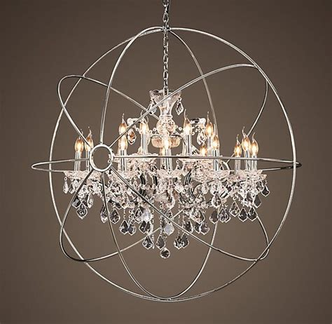 Orbit Chandelier With Crystals Foucault S Orb Chandelier Polished Nickel Large