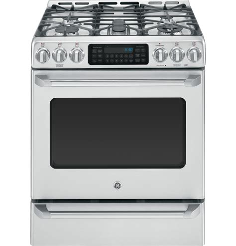 Dual Fuel Cooktop ge caf 233 series slide in front dual fuel range with baking drawer c2s985setss ge