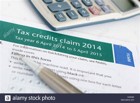 Tax Credit Form Tc600 Completing A Working Tax Credit Application Form Tc600 Stock Photo Royalty Free Image